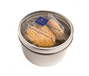 Small Round Acrylic Window Tin with 4 Biscuits
