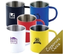 Stainless Steel Coloured Double Wall Mugs