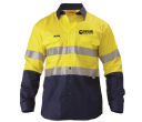 Bisley Long Sleeve 2 Tone Hi Vis Cool Lightweight Gusset Cuff Shirts with 3M Reflective Tape